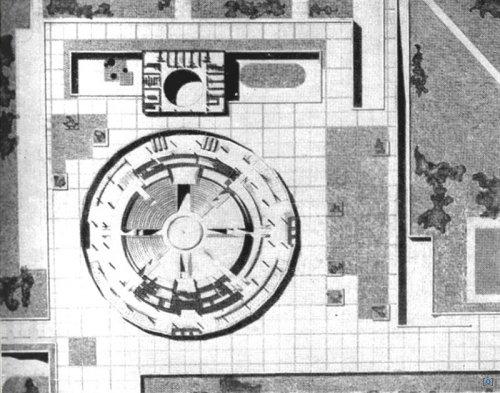 Здание Цирка на Вернадском проспекте в Москве, 1971 год.